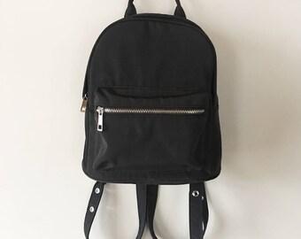 Vintage 90s Black Leather Nylon Mini Backpack, 90s Bags, Retro Backpack, Small Backpack, Women's Backpack, Mini Knapsack