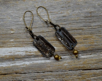 """Upcyced Antique Ceiling Tin into """"Salvaged"""" Silver Stuffs Tin Earrings - ReaganJuel"""