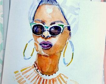 Caraibian woman. Original watercolour card.