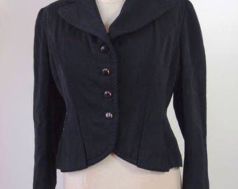 1940's Black Gaberdine Jacket Tailored Peplum with Glass Buttons Buffum's Young Californian Shop