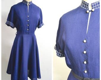 1940s Dark blue rayon shirtwaister high neck day dress / 40s Starfrocks full skirt navy dress - S