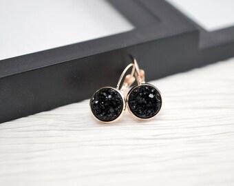 Black Rose Gold Earrings, Black Earrings, Rose Gold Earrings, Black Druzy Earrings, Druzy Earrings, Rose Gold Jewelry, Faux Druzy Earrings