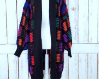 Vintage black/red/purple color block long chunky sweater coat/oversize chunky cardigan sweater/plus size 3x