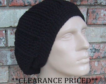 CLEARANCE PRICED 60% OFF - Black Slouchy Hat - Mens Size Large to X-Large - Crocheted - Acrylic Yarn - Handmade - Unisex - Ready to Ship