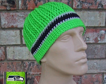 Beanie in Team Colors - Seahawks - Green/Dk.Navy/Grey Colors - Unisex / Mens Size M/L - Hand Crocheted Soft Warm Acrylic Yarn - Nice Gift