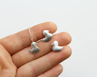 duck jewellery, duck necklace, duck earrings, silver duck jewellery. silver duck earrings, silver duck necklace, bath duck jewellery