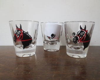 Vintage '50s 3 pc Horse / Equestrian Shot Glasses, Kentucky Derby! Horse Racing!