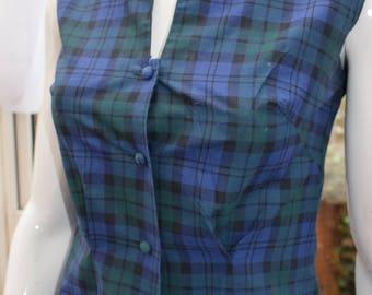 "1950s-60s Original Blue Plaid Sleeveless Blouse sz"" 10-12UK  Rockabilly"