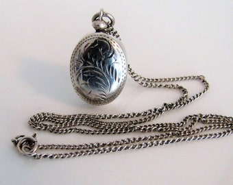Antique Victorian Engraved Oval Puffy Locket. Chatelaine Scent Bottle Locket. Antique Sterling Silver English Pendant. Mom Wife Gift For Her