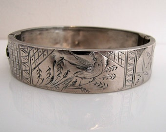 Antique Victorian Silver Swallow & Bamboo Engraved  Bracelet. English Sterling Silver Cuff. Aesthetic Japonesque Hinged Stacking Bangle