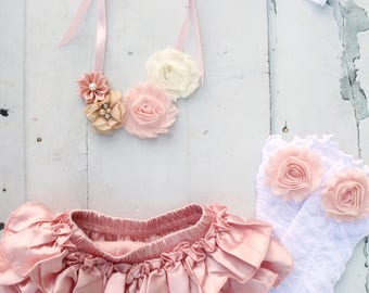Birthday Girl Photo Prop Set of up to 4 Items, Blush Ruffle Diaper Cover, Leg Warmers, Flower Necklace, Newborn Baby Girl Coming Home Outfit