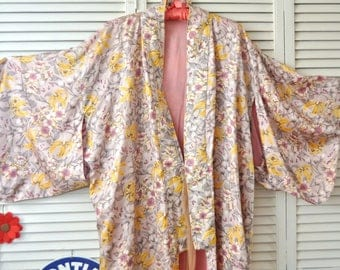 Vintage Floral Robe Kimono Flowers Asiatic Lilies Pink Lilac Handmade OOAK Lingerie Lounge Wear Theater Costume Large One Size 80s Long