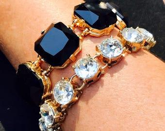 Black square enamel bracelet trendy fun jewelry gold and black bracelet wedding bridesmaid jewelry gift set of bracelets