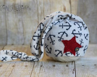 Upcycled Newborn Hat Baby Boy or Girl Sleep Cap Newborn Nautical Hat with Star Upcycle Photo Prop Hat Long Tail Knot Hat - READY to SHIP