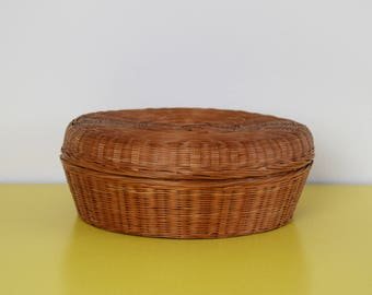 Vintage Chinese Basket, Wicker Storage Basket, Lidded Wicker Basket, Round Bohemian Storage Basket, Vintage Chinese Sewing Basket