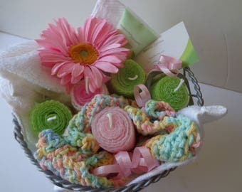 Pink and Lime Green Gift Basket - Bridesmaids Gift Basket - Pink and Lime Green Beeswax Candles in Basket - Farmhouse Gift Basket - Candles
