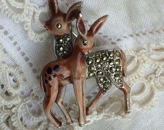 Adorable Vintage Enamel + Marcasite Deer + Faun Brooch