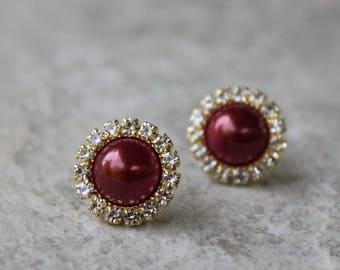 Gold and Wine Earrings, Wine Pearl Earrings, Wine Wedding Jewelry, Wine Bridesmaid Jewelry, Burgundy, Maroon, Bridesmaid Earring Gift