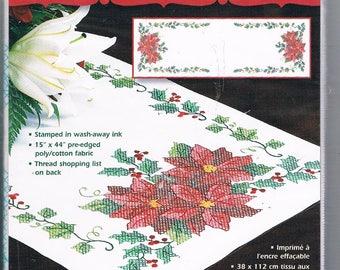 Poinsettia Table Runner/ Cross Stitch Kit/ Dimensions