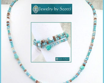 Turquoise Blue Aqua Necklace or Wrap Bracelet Seed Bead Turquoise Necklace Converts to Bracelet Colorful Lightweight Statement Jewelry