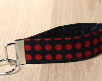 Key Fob Wristlet - Black with Red Dots - Ready to Ship