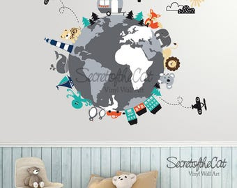 World Map decal - Map decal - World Map- Children Wall decal - Map wall decal - World decal - Nursery decal - map