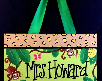 Jungle Themed Teacher Door Sign, Monkey Themed Classroom, Teacher Door Hanger, Jungle Classroom, Personalized Teacher Name Sign
