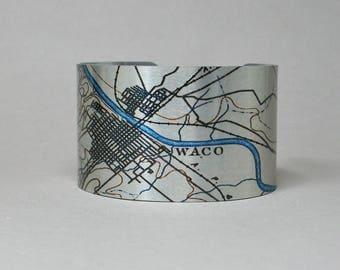 Cuff Bracelet Waco Texas Map Unique Hometown City Gift for Men or Women
