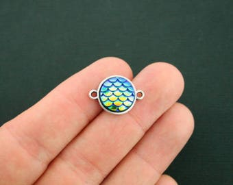 4 Mermaid Connector Charms Turquoise Scale Antique Silver Tone 20mm x 14mm SC6563CON NEW5