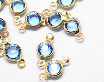 10 December Birthstone Connectors Transparent Sky Blue Color Gold Tone with Faceted Cut - DBD583 NEW5