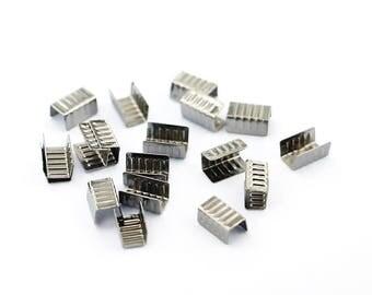 50 Gunmetal Tone Ribbon End Caps 8mm x 5mm - FD508 NEW4