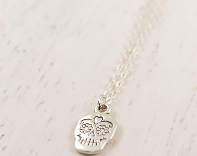 Sugar Skull Charm Necklace, Halloween Necklace,Day of the Dead Necklace, Pendant Necklace, Sugar Skull Pendant, Sugar Skull Jewelry