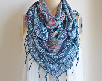 Teal Scarf/ Square Scarf with Tassels and Pearls- Tile Pattern Scarf-Ottoman Print Scarf-Turkish Anatolian Scarf-Teal and Pink Scarf