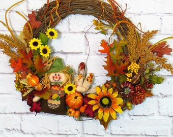 Scarecrow Wreath, Fall Wreath, Fall Decor, Rustic Fall Wreath, Harvest Wreath, Thanksgiving Wreath,  Rustic Fall Decor, Autumn Wreath