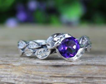 Amethyst leaf ring, amethyst gemstone ring In silver, leaves ring, friendship silver ring, ntural floral amethyst ring, unique