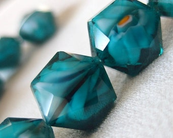 "Deep Teal Blue Hexagon Faceted Millefiore Crystal beads, 16mm diameter x 10mm thick, 10 pieces, 6"" strand"