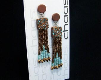 Brown and turqoius bead tassel earrings