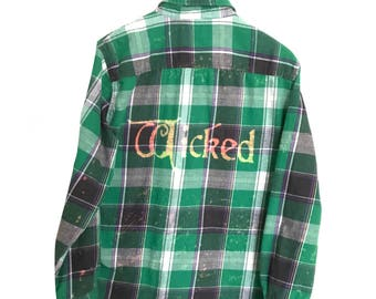 Wicked Musical Shirt Grey Green Plaid Flannel Broadway theatre acting hipster grunge black thespian wizard of oz quote graphic tee ooak
