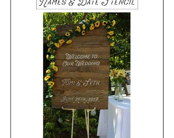 CUSTOM NAMES STENCIL wedding, anniversary, house warming gift, signs, and home decor