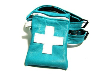 Nurse Doctor MEDICAL GARTER BAG in Turquoise with White