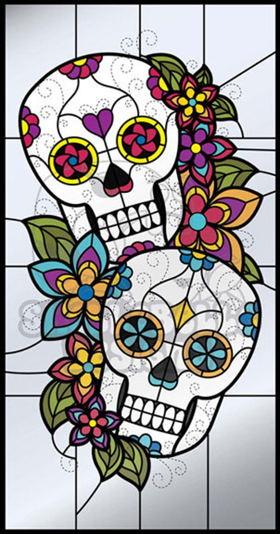 Digital Stained Glass Pattern Dia De Los Muertos Sugar