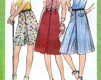 Simplicity 8391 Vintage 70s Sewing Pattern for Misses' Culottes in Two Lengths and Skirt - Uncut - Size 14