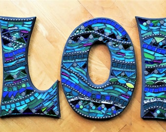 "MOSAIC LETTERS/INITIALS - 11"" Tall - Totally Customizable - Pick Your Colors / Pick Your Font - Order 11"" Size Letters From This Listing"