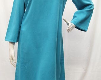 1970's Handmade, Women Dress, Wool Blend, Long Sleeve, Turquoise, Collarless, A-Line, Size S/M, V70226
