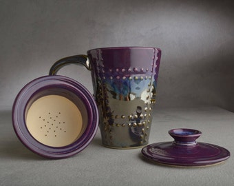 Lidded Tea Mug Made To Order Sheet Metal Tea Mug with Lid and Infuser by Symmetrical Pottery