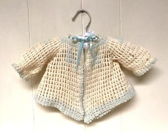 Vintage 1930s Baby Clothing / 30s Crochet Ivory Wool Jacket