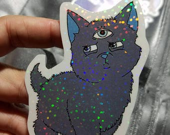 Holographic Sticker - Third eye Mystic Cat