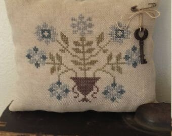 Primitive cross stitch sampler Blue Flower Urn cupboard tuck/pinkeep small pillow