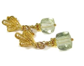 Green Amethyst Earrings, Gold Vermeil, Art Nouveau Posts Earrings, Lightweight,  Dangle Earrings,  Semi Precious, February Birthstone