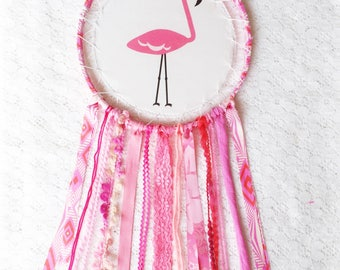 Large Pink Flamingo Dream Catcher, Summer Vibes Birthday Party, Tropical Fun Dreamcatcher, Kids Birthday Gift
